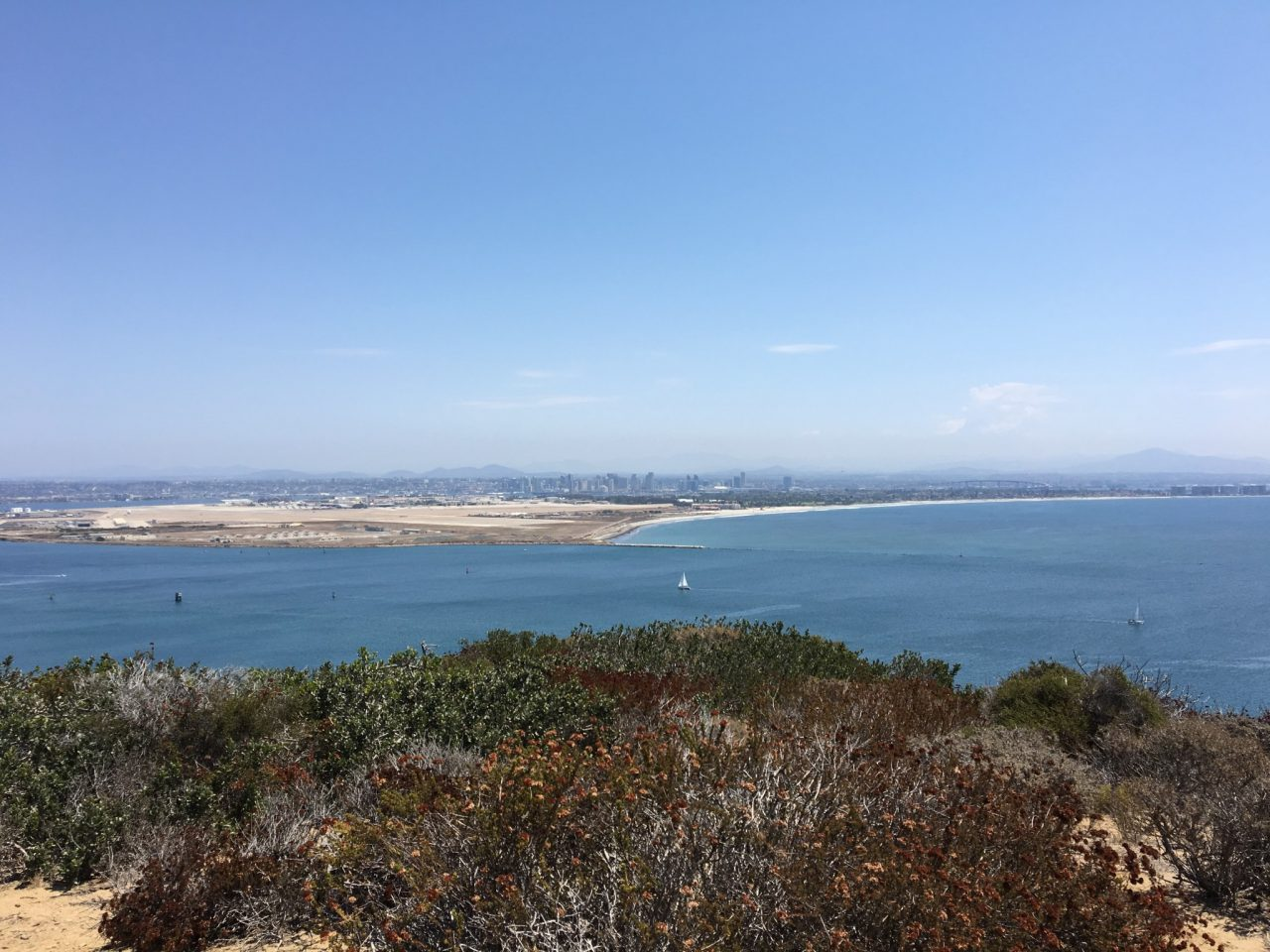 View of Coronado Beach, San Diego downtown, and Mexico from Point Loma