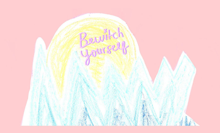 A crayon drawn sun emerges from pastel blue peaks. Bewitch Yourself is written in the sun.